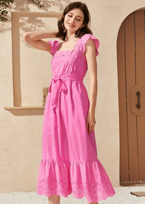 candy hot pink ruffle square dress shein brookie