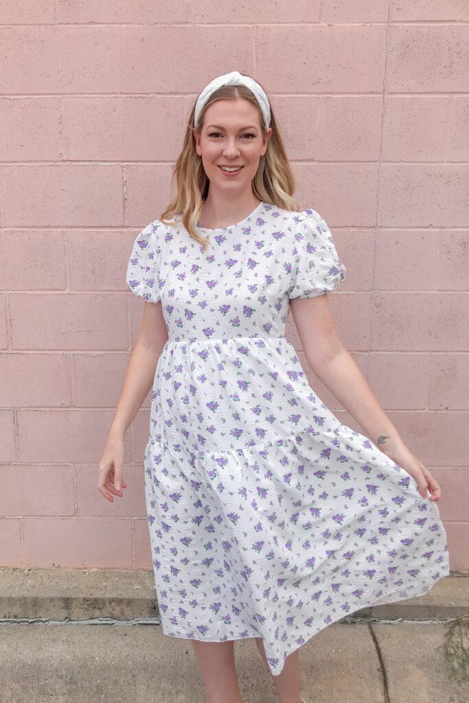 White Floral Midi Dress 1