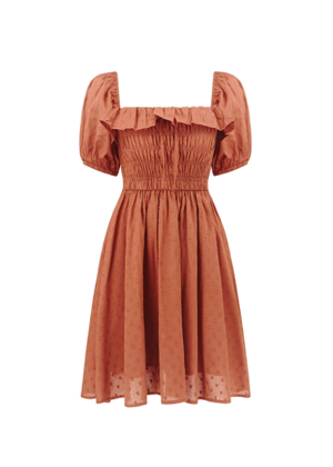 amazon dress mini ruffle smocked rust orange brookie swiss dot