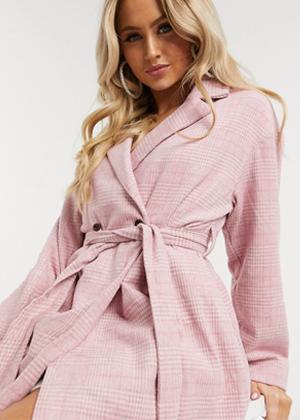 asos pink checkered long coat brookie