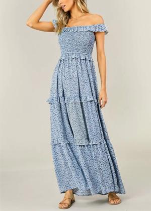 blue floral maxi dress shein brookie