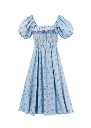blue floral puff sleeve smocked midi dress amazon brookie