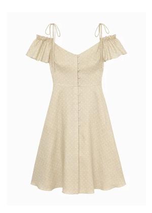 colleen beige gal meets glam dress polka dot flutter sleeve