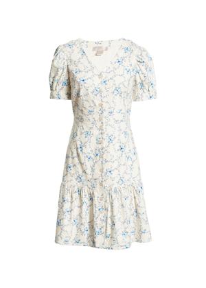 cream blue floral linen button dress rachel parcell nordstrom brookie