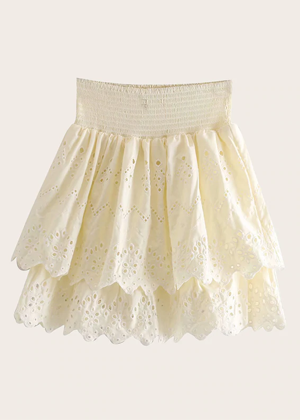 cream ivory eyelet mini skirt set brookie shein