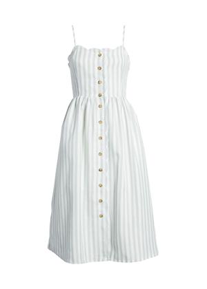 english factory green scallop stripe midi dress nordstrom brookie