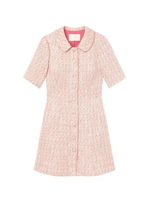gal meets glam clarissa pink tweed collar dress brookie