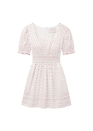 gal meets glam dorothy dress puff sleeve white print mini dress brookie