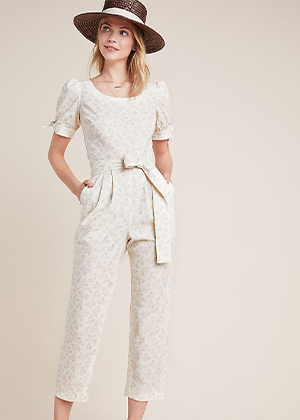 gal meets glam iris jumpsuit cream beige floral bow brookie