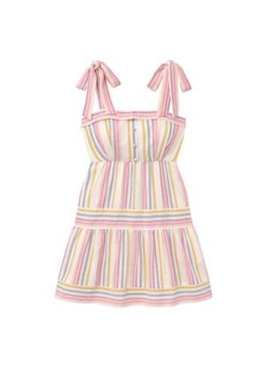 gal meets glam kim pastel rainbow stripe bow shoulder linen dress brookie