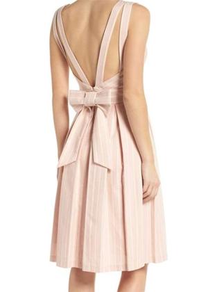 gal meets glam pink samantha striped bow back dress brookie