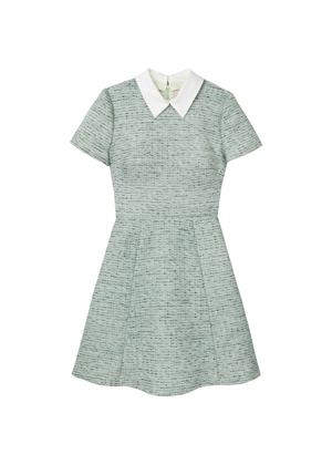 gal meets glam tatum green tweed collar mini dress brookie