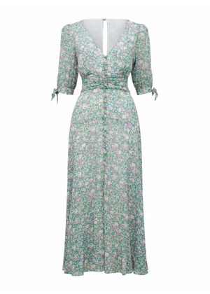 green floral forever new midi dress tie sleeve brookie