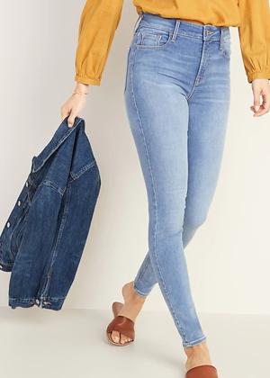 high waist mid wash skinny jeans brookie old navy