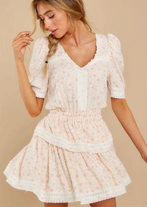 loveshackfancy dupe red dress brookie pink flippy dress floral