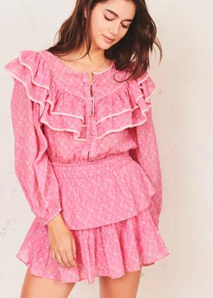loveshackfancy luca dress pink balloon sleeve mini brookie