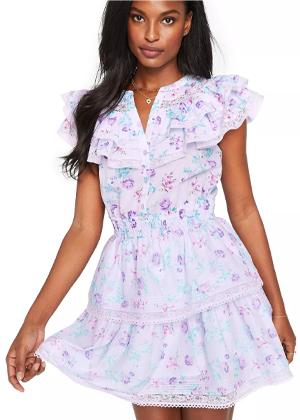 loveshackfancy x target brookie purple floral mini dress lou