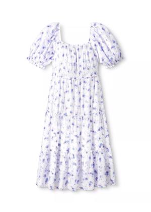 loveshackfancy x target gemma floral purple blue white midi dress brookie