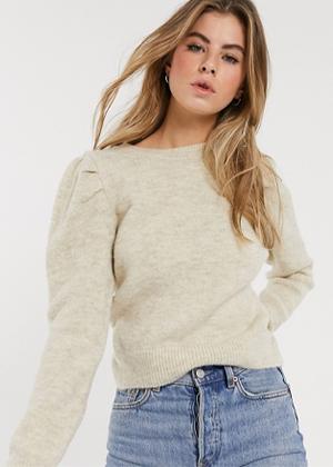 oatmeal puff sleeve sweater brookie asos