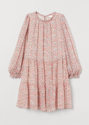 pink floral balloon sleeve dress h&m brookie