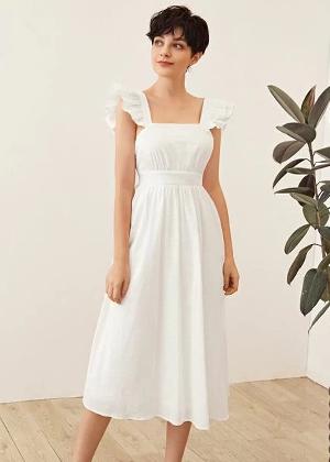 shein brookie white bow back linen midi dress