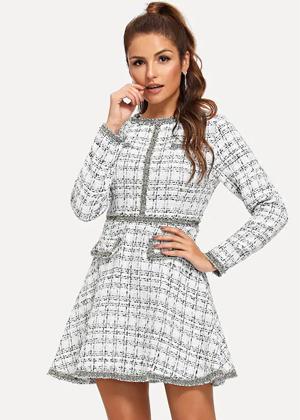 silver white tweed flare dress shein brookie