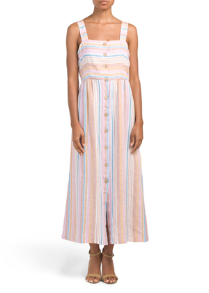 striped linen button dress maxi brookie tjmaxx