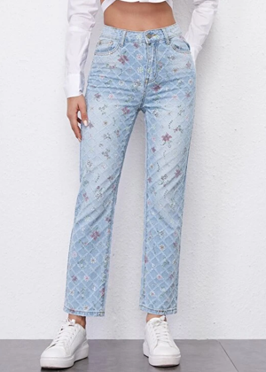 floral light wash straight jeans brookie shein