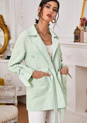 green tweed blazer coat jacket shein brookie