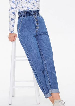 medium wash denim jeans high waist paperbag roll brookie forever 21