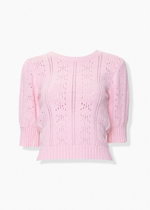 pink pointelle knit short puff sleeve sweater brookie forever 21