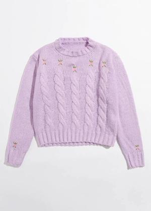 purple flower embroidered sweater shein brookie