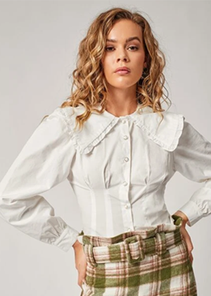 white collar vintage blouse pearl buttons brookie shein