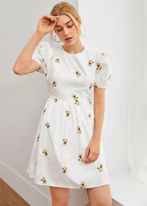 white embroidered puff sleeve dress brookie shein