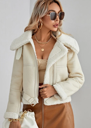shearling leather faux ivory jacket brookie shein