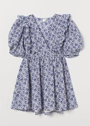 blue white floral puff sleeve mini dress h&m brookie