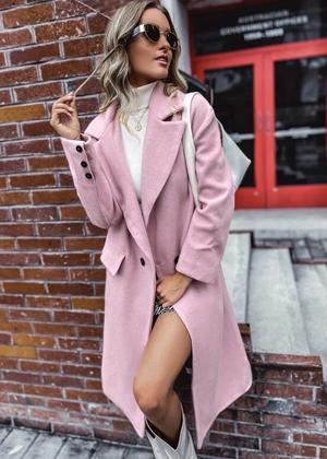 dusty pink candy wool long peacoat brookie shein