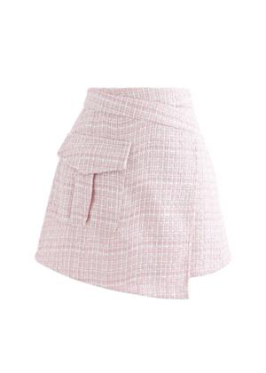 pink asymmetrical tweed mini skirt chicwish brookie