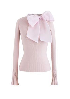 pink bow sweater top brookie chicwish