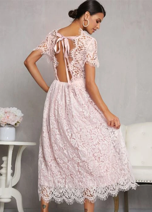 pink eyelash lace tie back midi dress wedding brookie shein