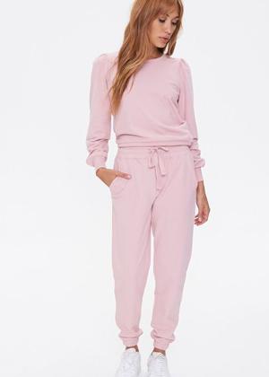top sweatshirt jogger pants pink forever 21 brookie