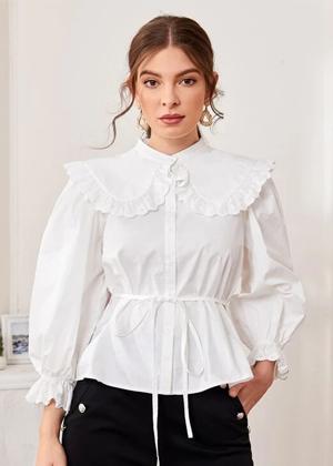 white collar sleeve button blouse top brookie shein